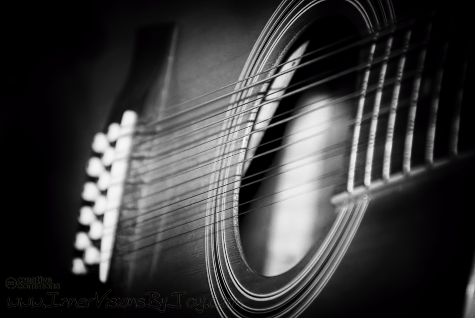 Black and white vignette of guitar sound hole
