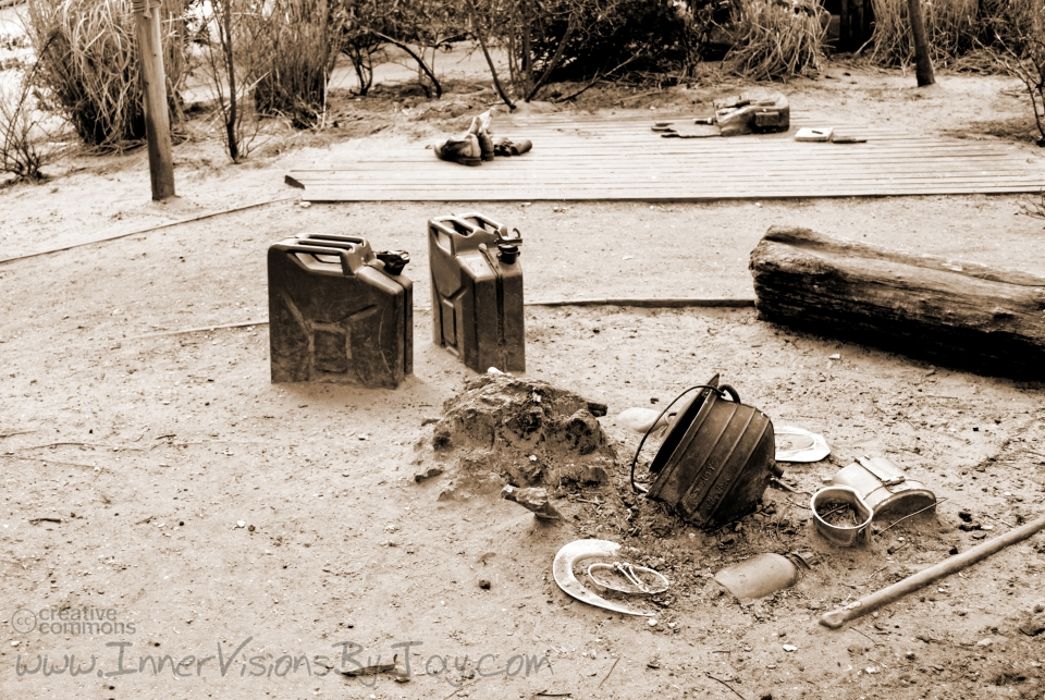 Abandoned campsite in sepia