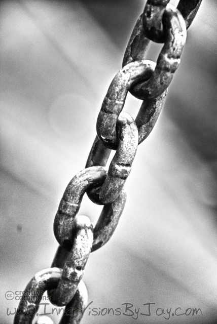 Chains in black and white against glowing background