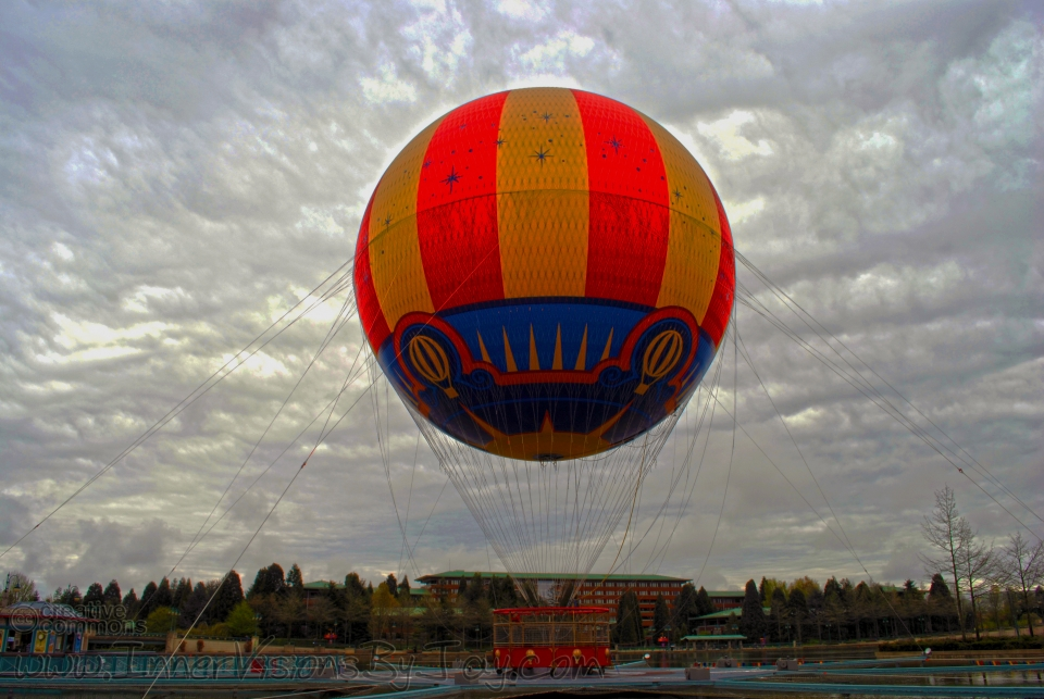 Balloon outside of Disney Paris against a dreary gray sky