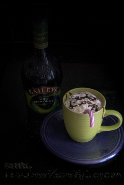 Hot Chocolate with Candy Cane and Baily's Mint irish Cream
